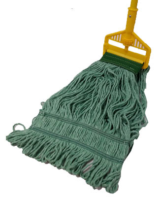a wet mop head placed on the floor