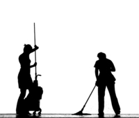 A Black Silhouette Of Two People Mopping The Floor