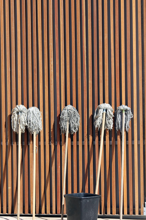 Five Mops Standing Upright In A Line