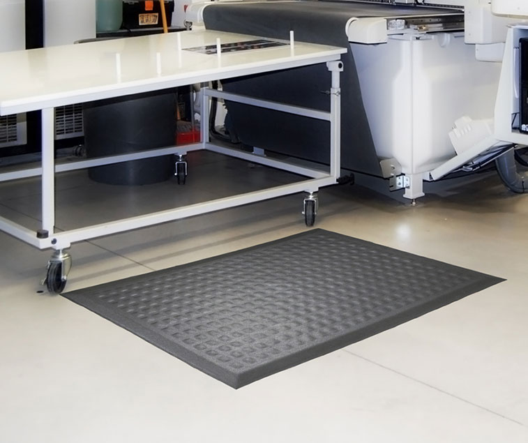 An anti-fatigue mat placed on the floor